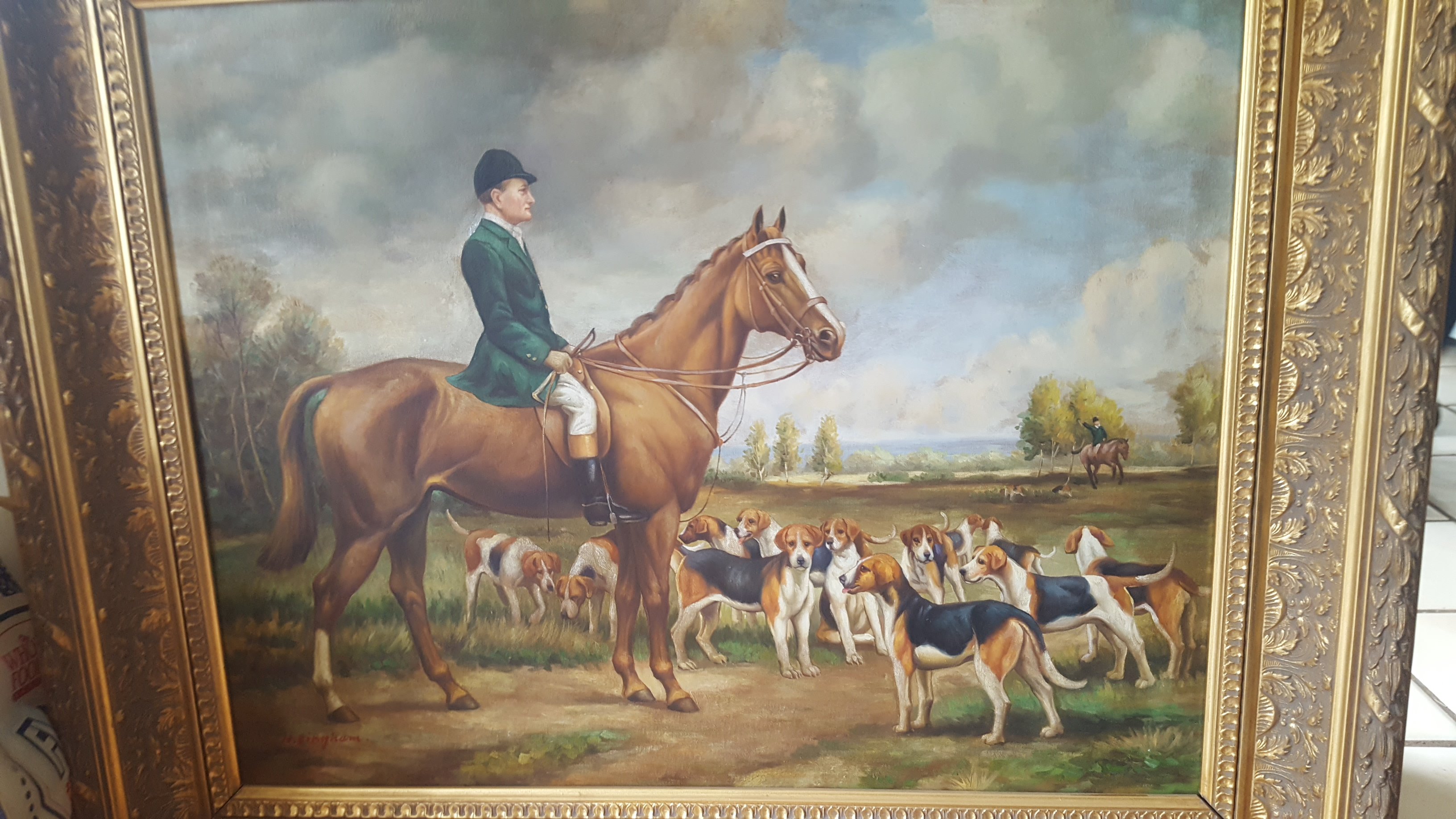 N, Bingham Green Hunt Oil on Canvas Framed - Click Image to Close