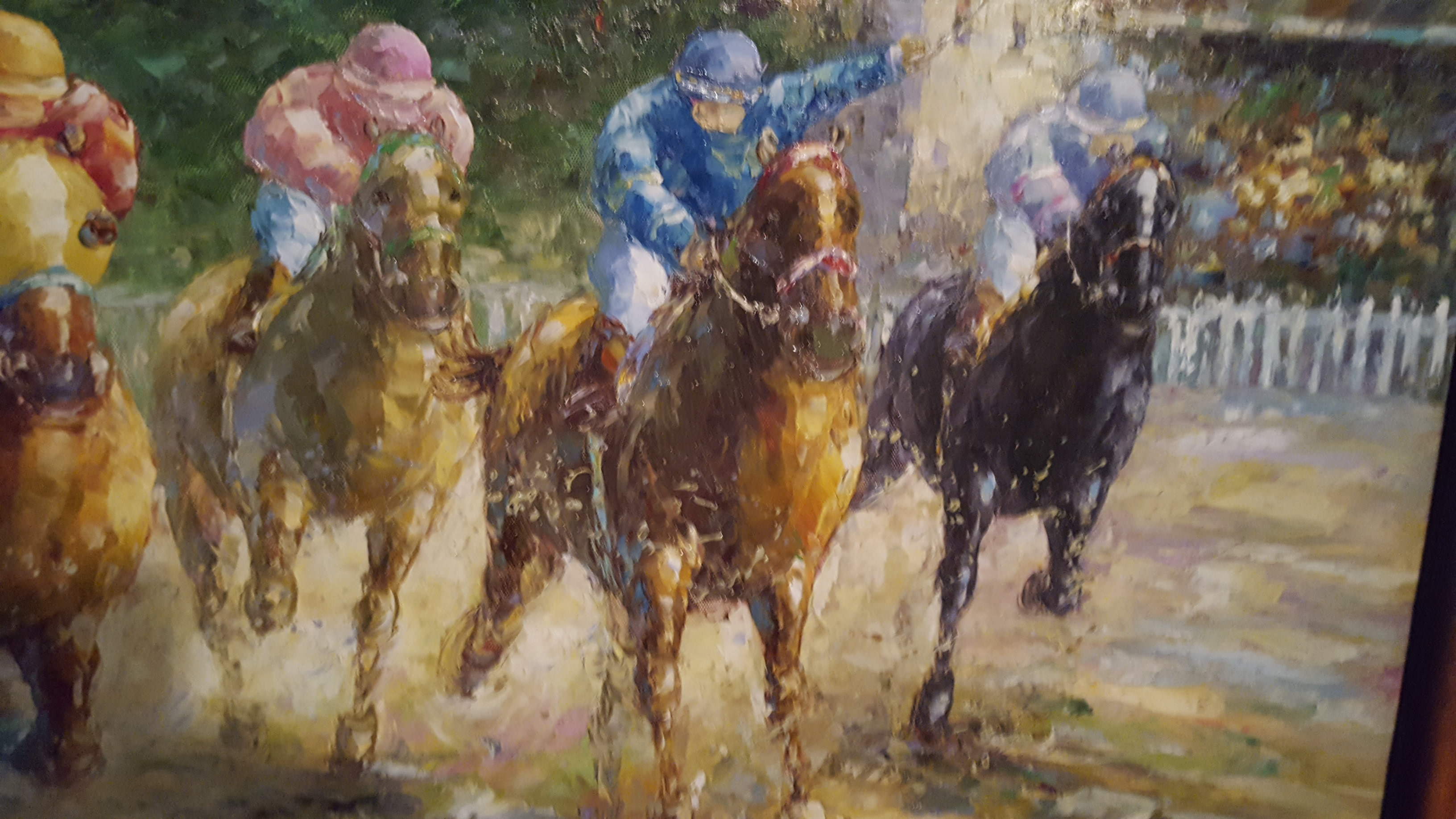 "Abstract Horse Racer Acrylic on Canvas 36""x24"" - Click Image to Close"